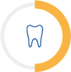 Tooth icon with a semi-circle around it